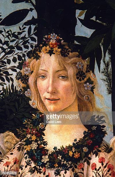 Detail of Spring's face from Sandro Botticelli's Primavera painted in 14771478 on display at the Uffizi Museum after restoration