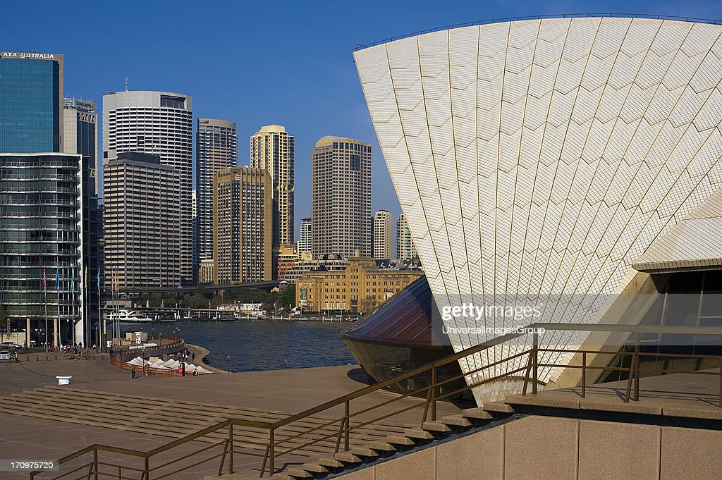 Detail of Sydney Opera House and Sydney Central Business District CBD Sydney New South Wales NSW Australia