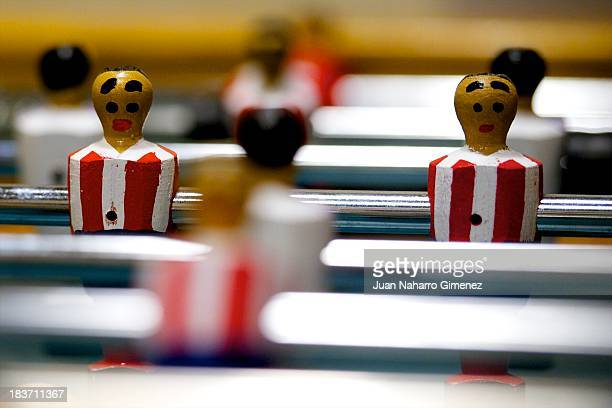 Detail of table football is seen at La Central on June 17 2013 in Madrid Spain Table football also known as 'futbolin' was a game played in pubs in...
