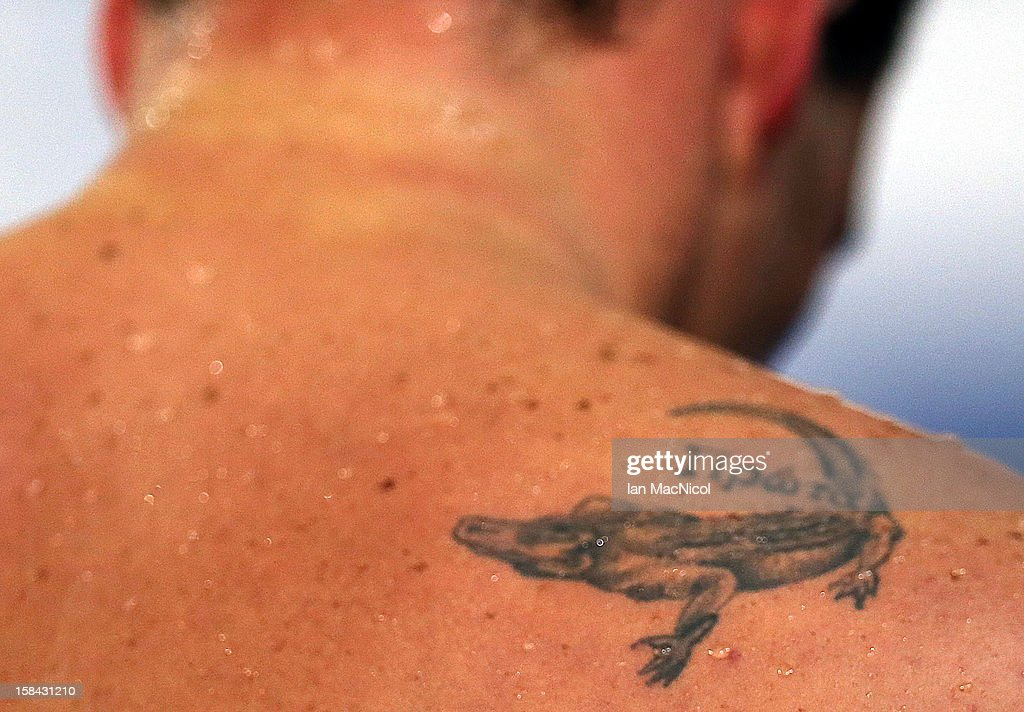 Detail of tatoo on Ryan Lochte of USA after swimming the last leg on the Men's 4x100m Medely Relay during day five of the 11th FINA Short Course World Championships at the Sinan Erdem Dome on December 16, 2012 in Istanbul, Turkey.