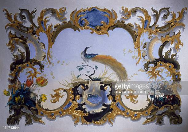 Detail of the 1860 neobaroque styled frescoes Sala dei Pavoni Castle of Bornato Brescia Italy 19th century