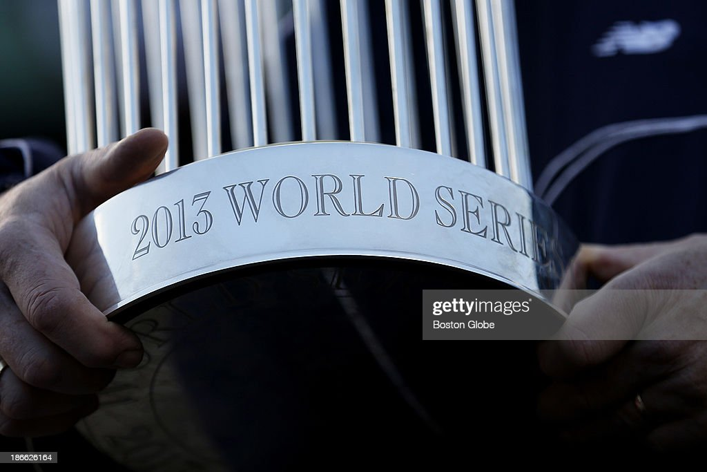 A detail of the 2013 World Series trophy. The Red Sox Rolling Rally started at Fenway Park and paraded around Boston after the Boston Red Sox won the 2013 World Series, on Saturday, Nov. 2, 2013.