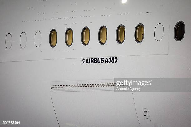 Detail of the Air France Airbus A380 during the arriving to the Mexico City International Airport 'Benito Juarez' in the first flight of this...