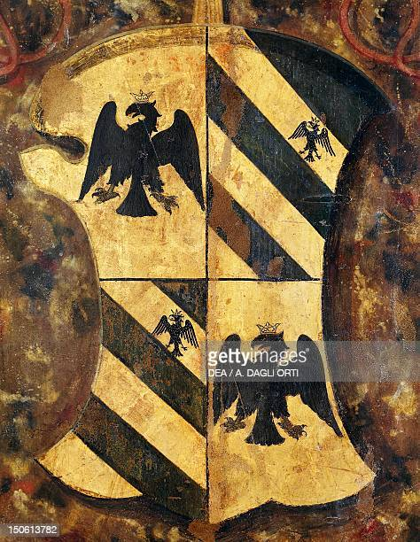 Detail of the alcove of the Duke Coat of Arms of the Counts of Montefeltro detail of the alcove of the Duke from Palazzo Ducale in Urbino Heraldry...