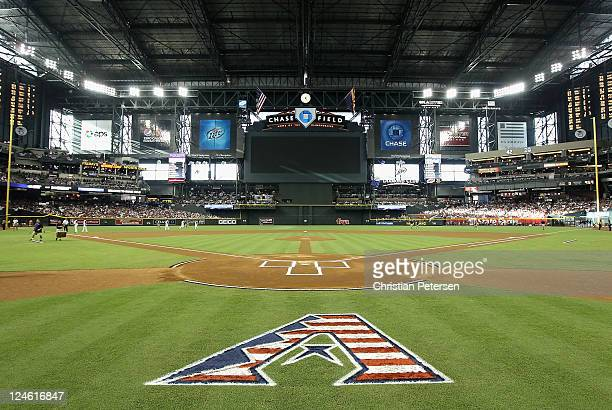 Detail of the Arizona Diamondbacks logo behind home plate before the Major League Baseball game against the San Diego Padres at Chase Field on...