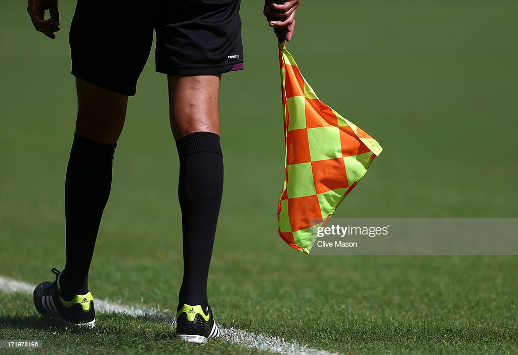 Detail of the Assistant Referee's flag during the FIFA Confederations Cup Brazil 2013 3rd Place match between Uruguay and Italy at Estadio Octavio...