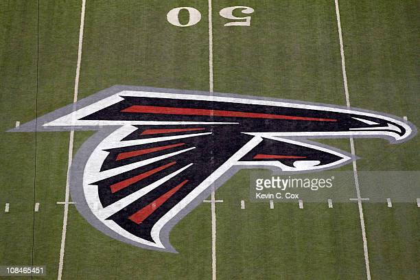 A detail of the Atlanta Falcons logo is seen at the 50 yard line against the Green Bay Packers during their 2011 NFC divisional playoff game at...
