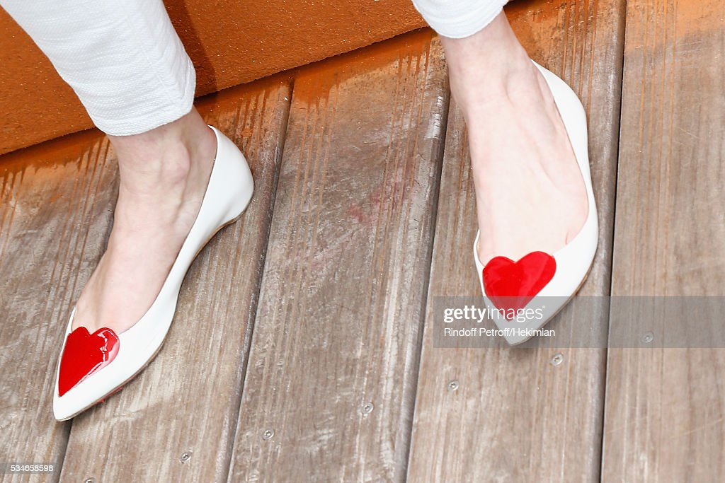 A detail of the <a gi-track='captionPersonalityLinkClicked' href=/galleries/search?phrase=Audrey+Marnay&family=editorial&specificpeople=622579 ng-click='$event.stopPropagation()'>Audrey Marnay</a> shoes pictured during the French Tennis Open Day 6 at Roland Garros on May 27, 2016 in Paris, France.