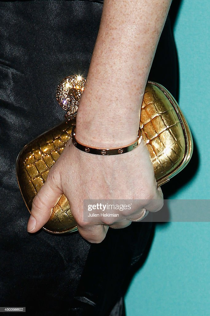 A detail of the Audrey Marnay's bag pictured during the Tiffany & Co Flagship Opening on the Champs Elysee on June 10, 2014 in Paris, France.