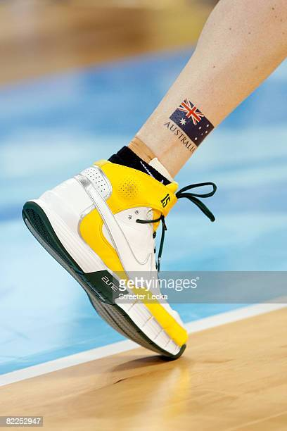 A detail of the Australian flag and Nike Sneakers worn by Lauren Jackson of Australia are seen against Brazil during their women's basketball...