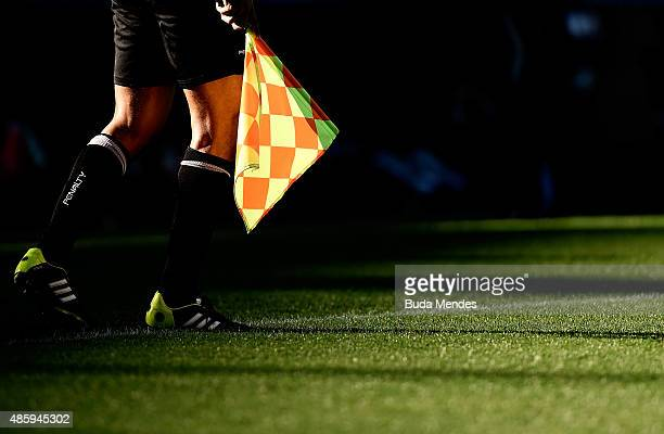 Detail of the auxiliar referee during a match between Fluminense and Atletico Mineiro as part of Brasileirao Series A 2015 at Maracana Stadium on...