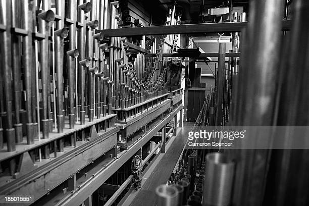 Detail of the back of the Grand Organ containing 10244 pipes 205 stops and five manuals is seen inside the concert hall at the Sydney Opera House on...