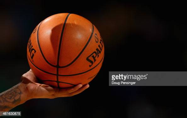 A detail of the basketball as the Oklahoma City Thunder face the Denver Nuggets at Pepsi Center on January 9 2014 in Denver Colorado The Nuggets...