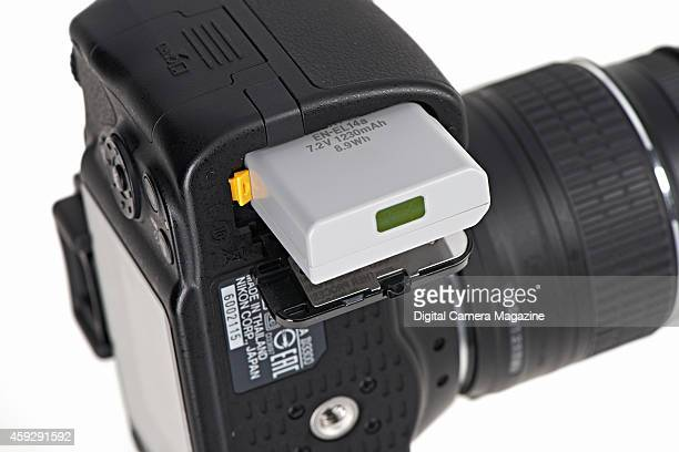 Detail of the battery pack in a Nikon D3300 DSLR camera taken on March 28 2014