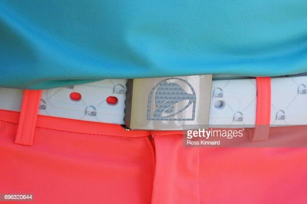 A detail of the belt of Wesley Bryan of the United States during the first round of the 2017 US Open at Erin Hills on June 15 2017 in Hartford...