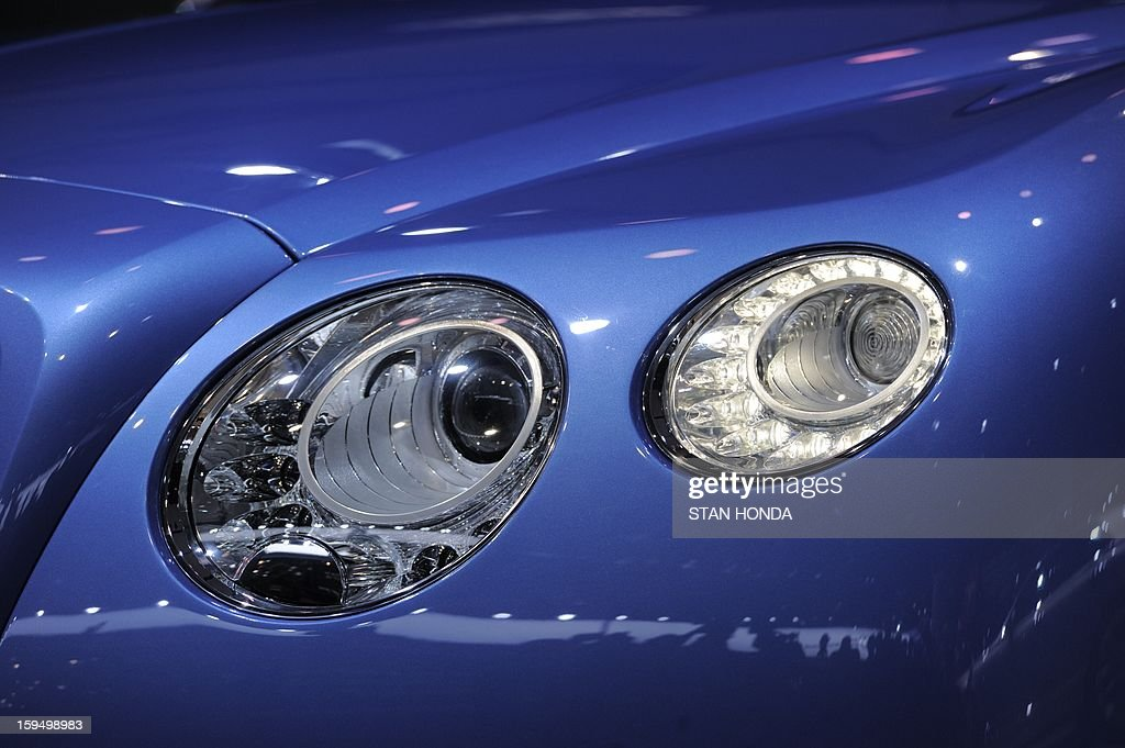 A detail of the Bentley Continental GT Speed Convertible is seen at the 2013 North American International Auto Show in Detroit, Michigan, on January 14, 2013. AFP PHOTO/Stan HONDA