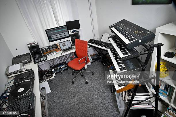 Detail of the Bern studio of Swiss techno DJ and producer Sam Geiser better known by his stage name Deetron on August 19 2014