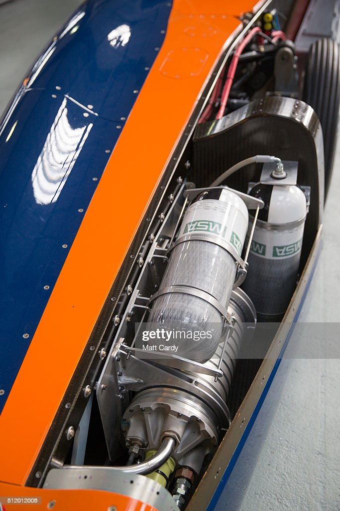 Detail of the Bloodhound SSC vehicle is seen on display inside the design centre in Avonmouth on February 24 2016 in Bristol England It is hoped that...
