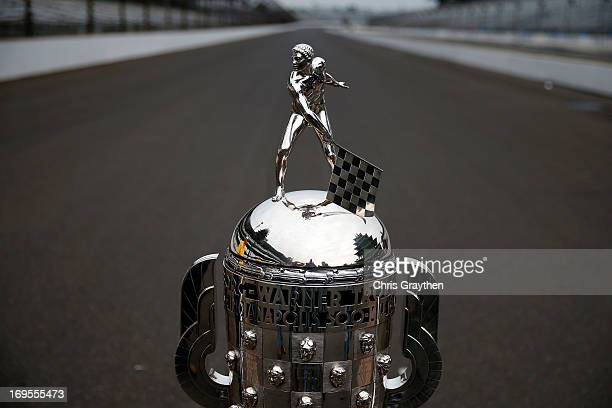 A detail of the Borg Warner Trophy on the yard of bricks during the Indianapolis 500 Mile Race Trophy Presentation and Champions Portrait Session for...