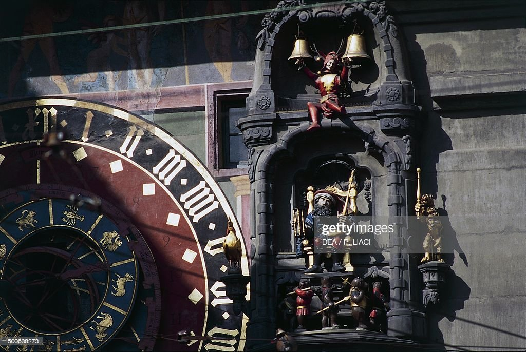 Detail of the carousel on the clock tower the Old City of Berne Canton of Bern Switzerland 16th century