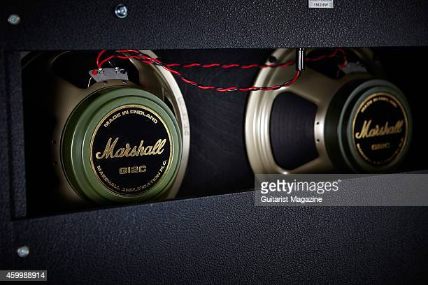 Detail of the Celestion G12 Greenback speakers on a Marshall 1962HW combo amplifier taken on April 25 2014
