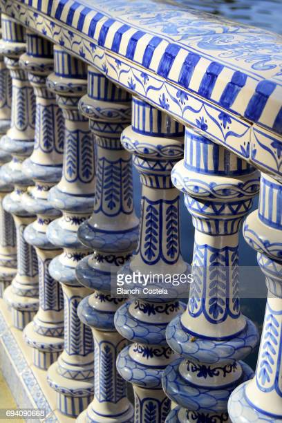 Detail of the ceramic railing in the Plaza de España