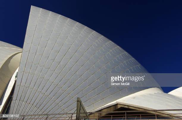 Detail of the ceramic tiles on the roof of the Sydney Opera House, Sydney, New South Wales, Australia