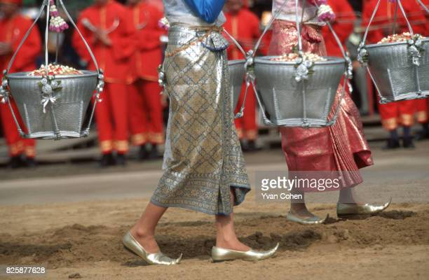A detail of the ceremonial baskets carried by 'celestial maidens' during the royal ploughing ceremony The baskets are used to carry rice seeds which...