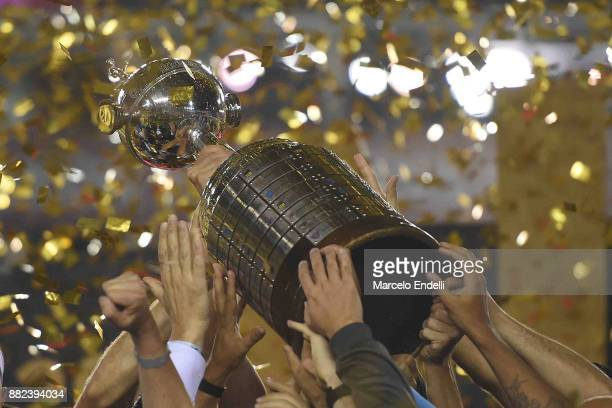 Detail of the champions trophy after the second leg match between Lanus and Gremio as part of Copa Bridgestone Libertadores 2017 Final at Ciudad de...