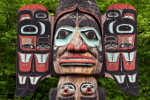 Detail of the Chief Johnson totem pole Tlingit