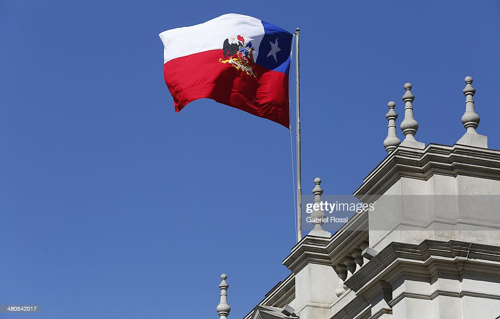 Detail of the Chilean flag at Palacio de la Moneda on March 17, 2014 in Santiago, Chile.