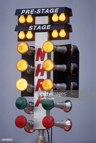 Detail of the Christmas Tree Lights at the NHRA Winter Nationals drag racing event at the Pomona Dragway on February 1 1996 in Pomona California