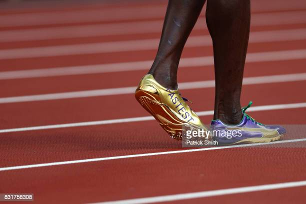 A detail of the cleats of Usain Bolt of Jamaica as he prepares to compete in the Men's 4x100 Metres Relay heats during day nine of the 16th IAAF...