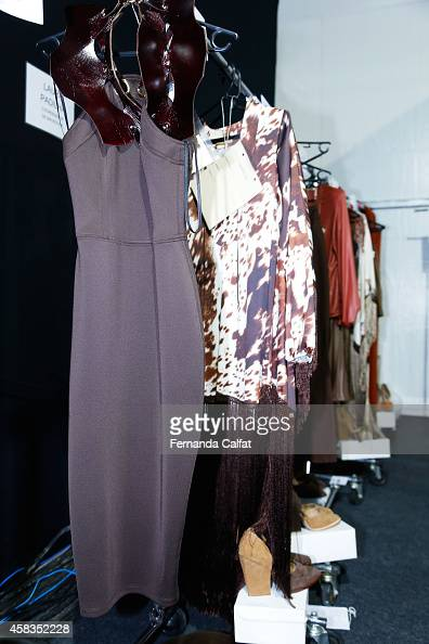 A detail of the clothing backstage at the Victor Dzenk fashion show during Sao Paulo Fashion Week Winter 2015 at Parque Candido Portinari on November...