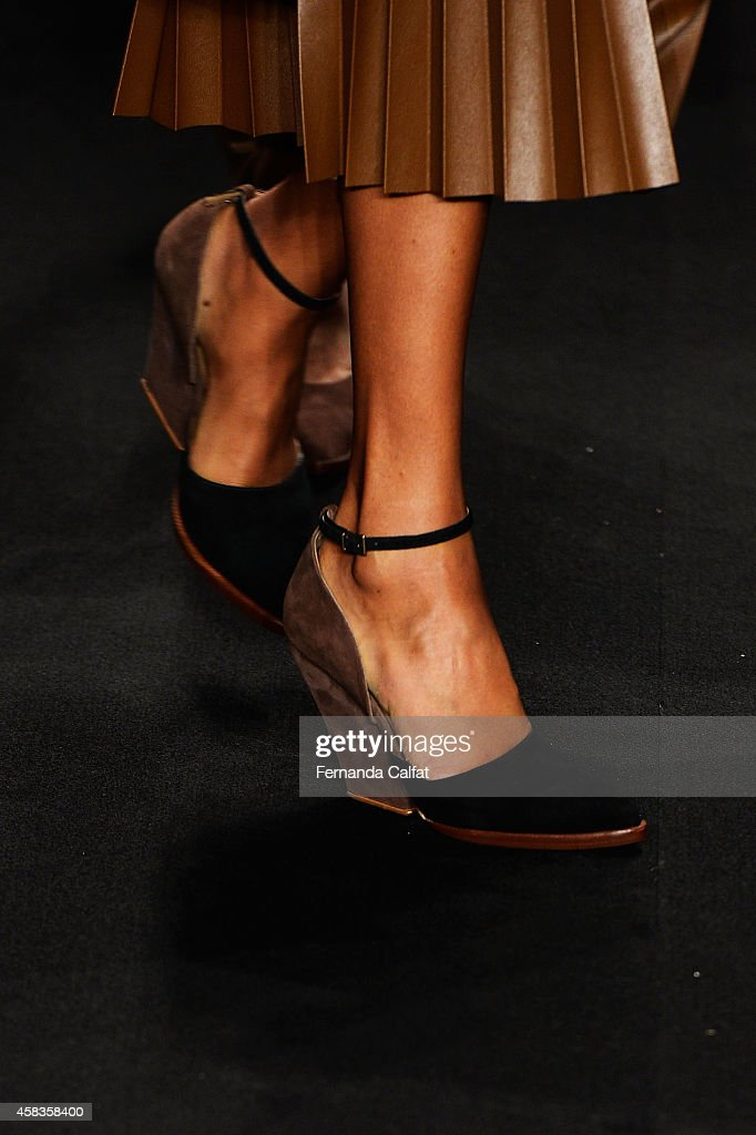 A detail of the clothing is pictured during the Victor Dzenk fashion show during Sao Paulo Fashion Week Winter 2015 at Parque Candido Portinari on...