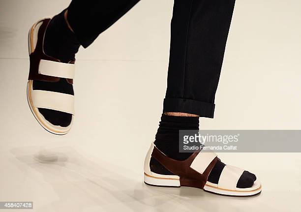 A detail of the clothing is pictured on the runway at the Colcci fashion show during Sao Paulo Fashion Week Winter 2015 at Parque Candido Portinari...