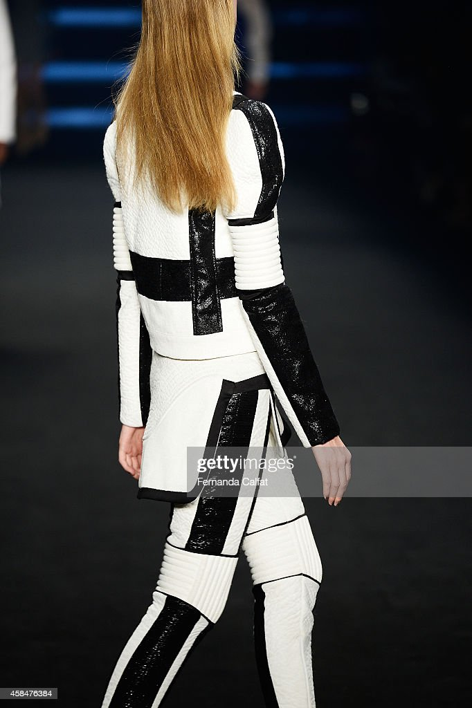 A detail of the clothing is pictured on the runway at the Triton fashion show during Sao Paulo Fashion Week Winter 2015 at Parque Candido Portinari...