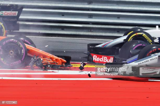 Detail of the collision at the start during the Formula One Grand Prix of Austria at Red Bull Ring on July 9 2017 in Spielberg Austria