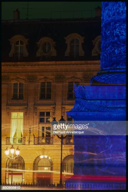 Detail of the Colonne Vendome Place Vendome illuminated in blue by Jeweller Boucheron