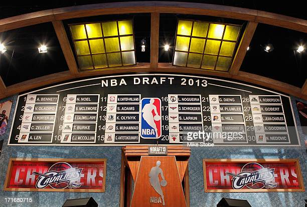 A detail of the completed first round draft board on stage during the 2013 NBA Draft at Barclays Center on June 27 2013 in in the Brooklyn Bourough...