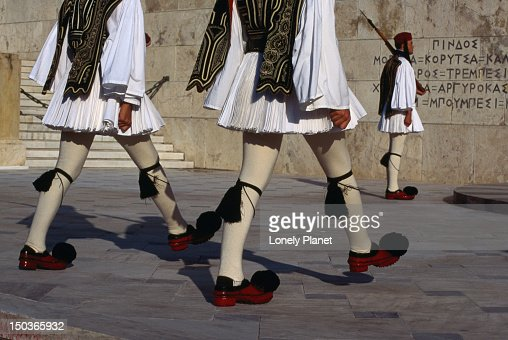 Detail of the costume worn by the guards outside the Greek Parliament buildings, Athens.