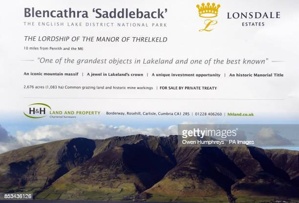 Detail of the cover of a sale brochure for Blencathra a 2850ft high peak that imposes itself across the Northern Fells in the Lake District owned by...