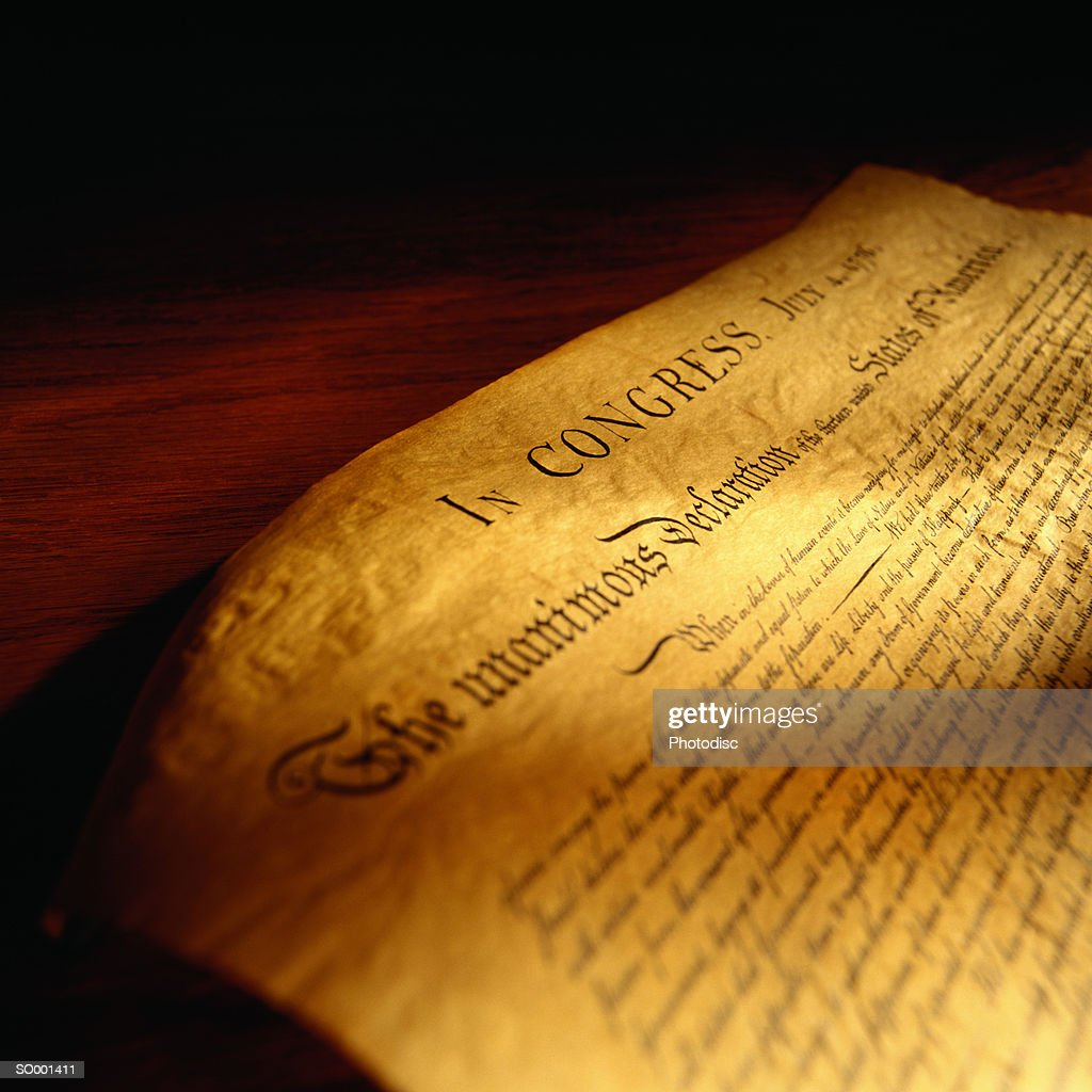 Detail of the Declaration of Independence : Stock Photo