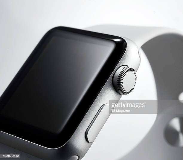 Detail of the digital crown on a 2015 Apple Watch Sport taken on April 24 2015