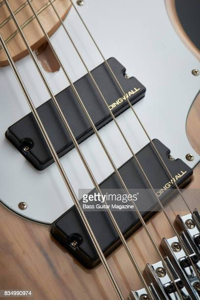 Detail of the Dingwall FD3n Neodymium pickups on a Dingwall Combustion 5 bass guitar taken on October 14 2016
