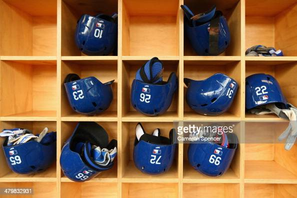 Detail of the Dodgers dugout during a Los Angeles Dodgers MLB training session at Sydney Cricket Ground on March 21 2014 in Sydney Australia
