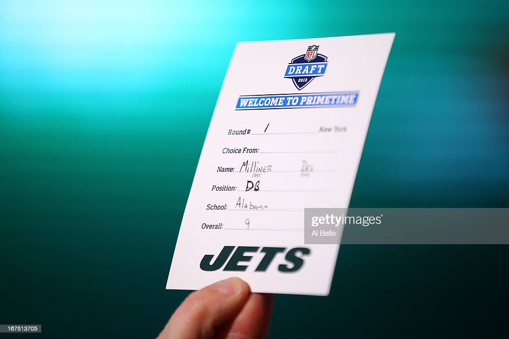 A detail of the draft card with the name of Dee Milliner of the Alabama Crimson Tide announcing that Milliner was the #9 overall pick by the New York Jets in the first round of the 2013 NFL Draft at Radio City Music Hall on April 25, 2013 in New York City.