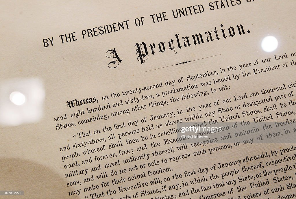 A detail of the Emancipation Proclamation owned by American statesman and politician Robert Kennedy is seen at Sotheby's auction house December 3, 2010 in New York City. The document, one of only 25 copies in existance of Abraham Lincoln's historic edict that freed American slaves, is estimated to be worth more than a million dollars.