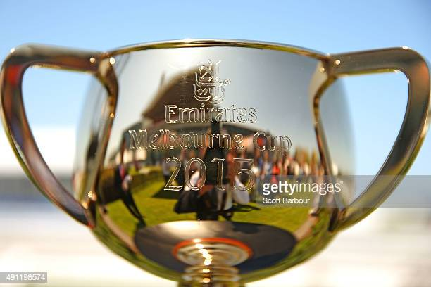 A detail of the Emirates Melbourne Cup in the Triple M Enclosure during Turnbull Stakes Day at Flemington Racecourse on October 4 2015 in Melbourne...