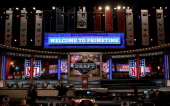 A detail of the empty stage prior to the start of the first round of the 2013 NFL Draft at Radio City Music Hall on April 25 2013 in New York City